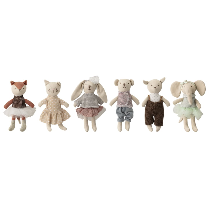 Mini cuddly toy set (set of 6) from Bloomingville in multi-color