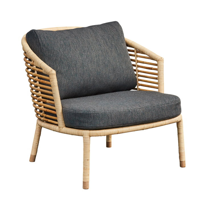 Sense Lounge chair, natural / dark grey by Cane-line