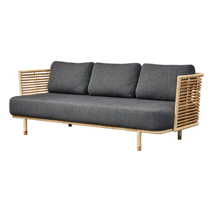 Sense 3-seater sofa, natural / dark grey by Cane-line