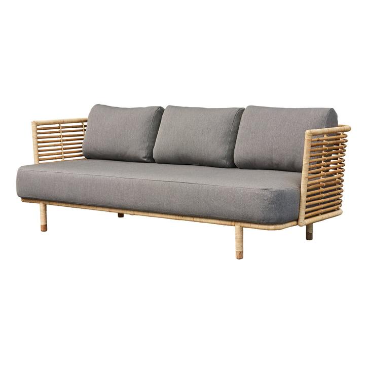 Sense 3-seater sofa, natural / light grey by Cane-line