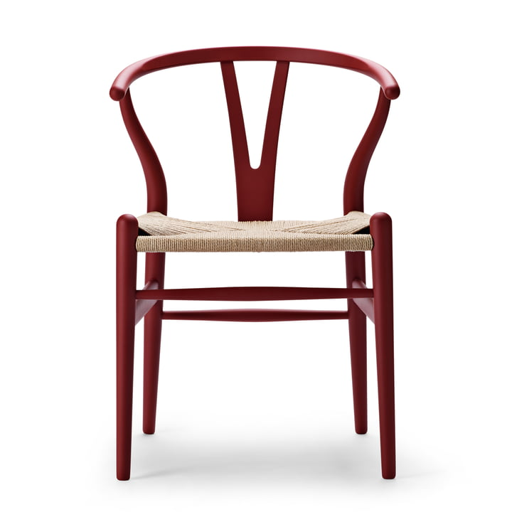 CH24 Wishbone Chair from Carl Hansen in soft red / natural braid
