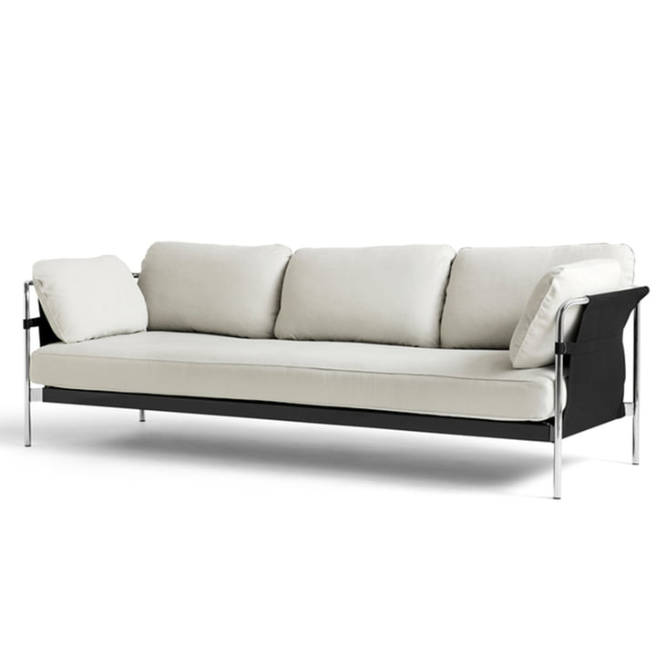 Can 2. 0 3-seater sofa from Hay in chrome / canvas nature / Linara 311