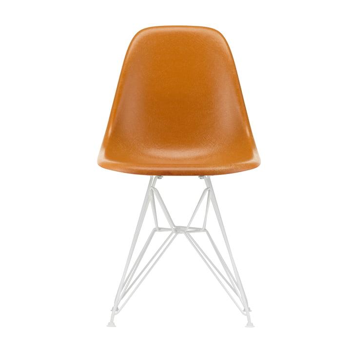 Eames Fiberglass Side Chair DSR from Vitra in white / Eames ochre dark (felt glides white)