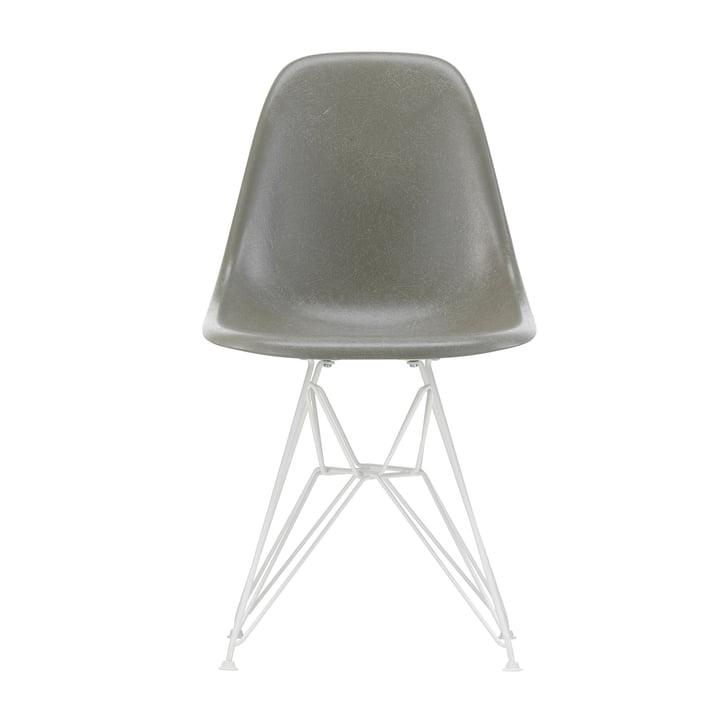 Eames Fiberglass Side Chair DSR from Vitra in white / Eames raw umber (felt glides white)