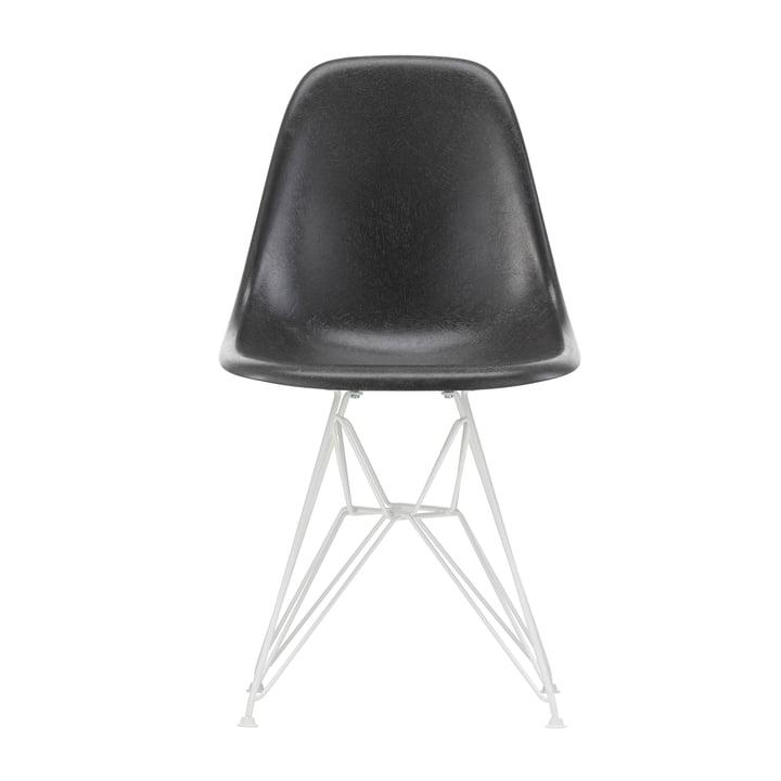 Eames Fiberglass Side Chair DSR from Vitra in white / Eames elephant hide grey (felt glides white)