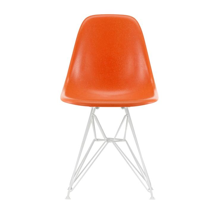 Eames Fiberglass Side Chair DSR from Vitra in white / Eames red orange (felt glides white)