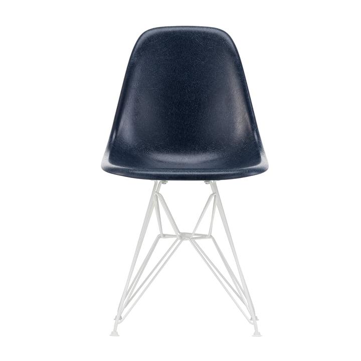 Eames Fiberglass Side Chair DSR from Vitra in white / Eames navy blue (felt glides white)