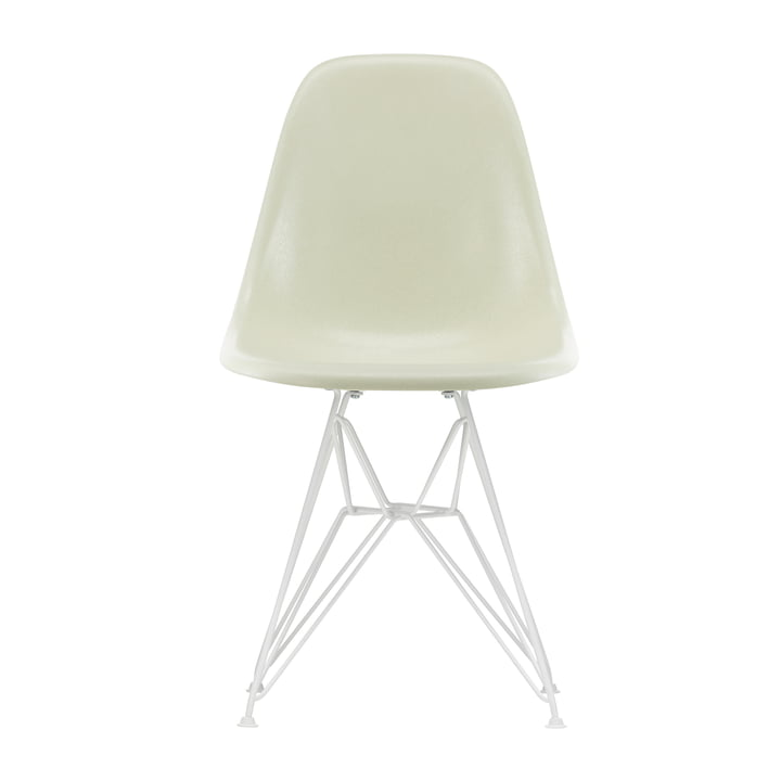 Eames Fiberglass Side Chair DSR from Vitra in white / Eames parchment (felt glides white)