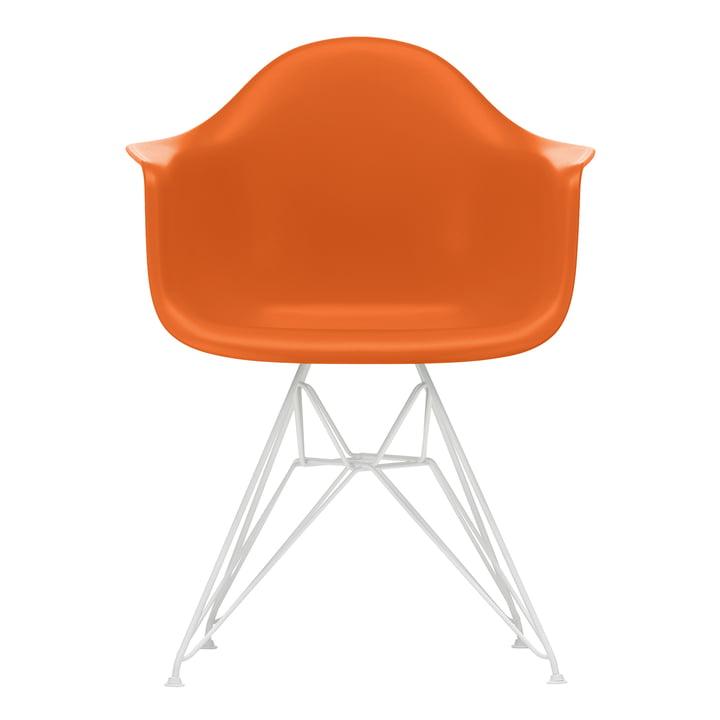 Eames Plastic Armchair DAR from Vitra in white / rust-orange (felt gliders white)