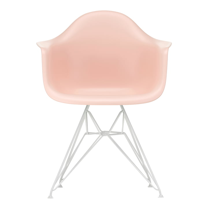 Eames Plastic Armchair DAR from Vitra in white / soft pink (felt glides white)