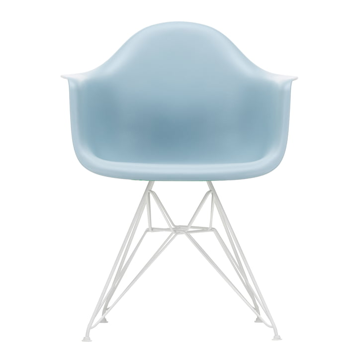 Eames Plastic Armchair DAR from Vitra in white / ice grey (felt glides white)