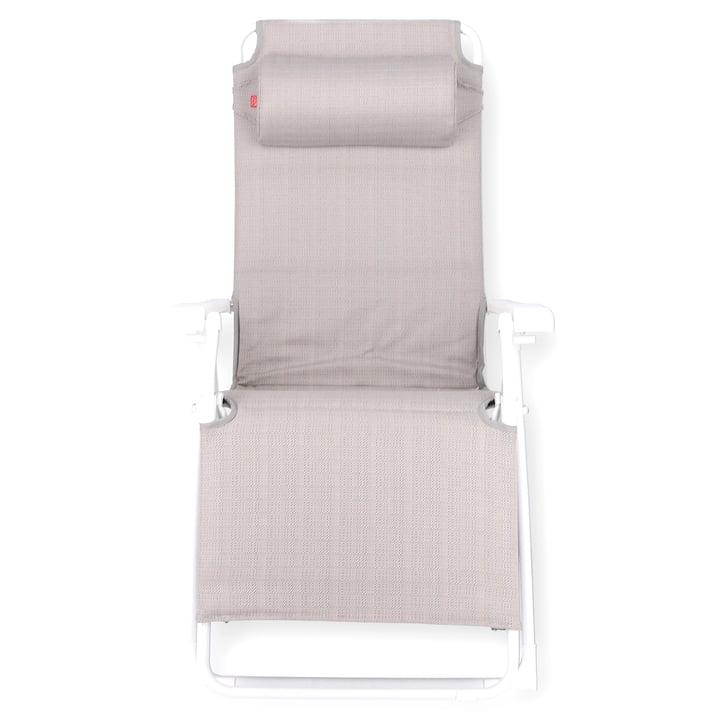 Amida soft relax lounger Fiam in aluminium white / sea linen