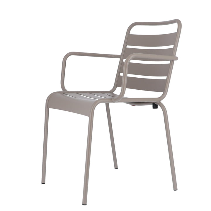 Mya metal chair with armrest from Fiam in taupe