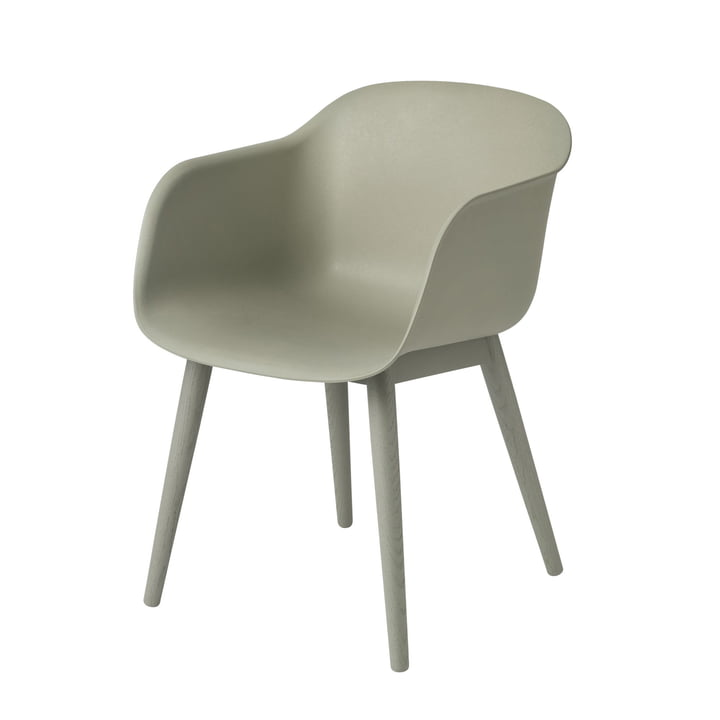 Fiber Chair Wood Base from Muuto in dusty green