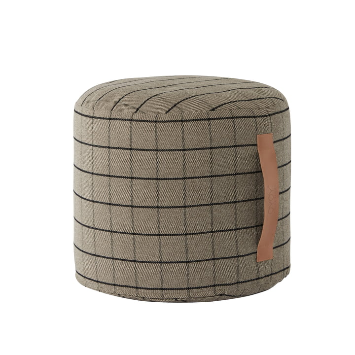 Grid pouf Ø 40 cm, brown from OYOY