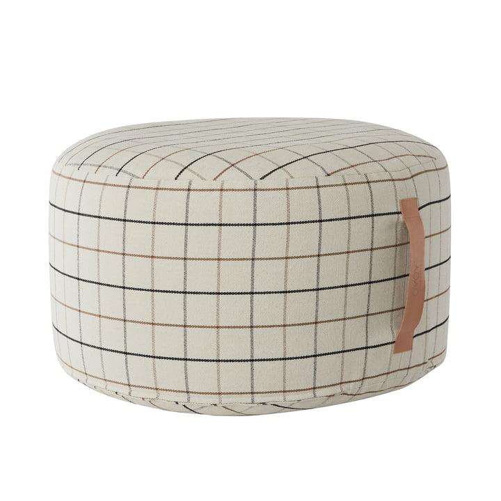 Grid pouf Ø 65 cm, beige from OYOY