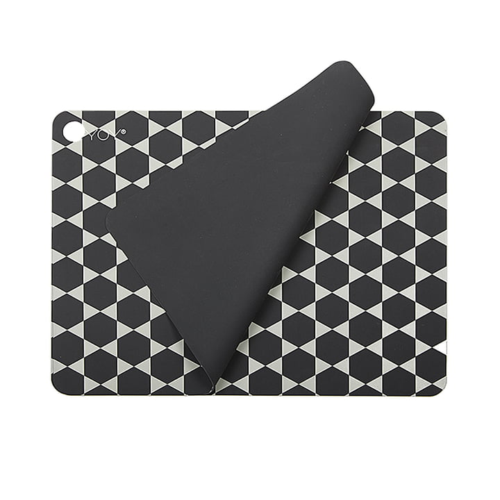 Placemats Hexagon, dark grey (set of 2) from OYOY
