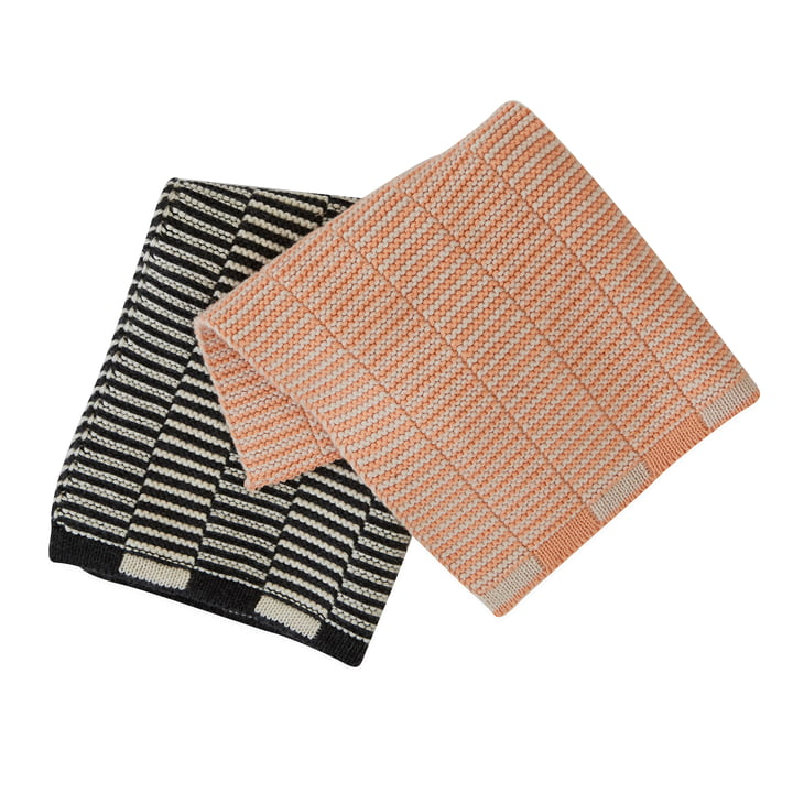 Stringa dishcloth, 25 x 25 cm, coral / anthracite (set of 2) from OYOY