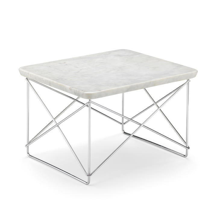 Eames Occasional Table LTR from Vitra in marble light / chrome