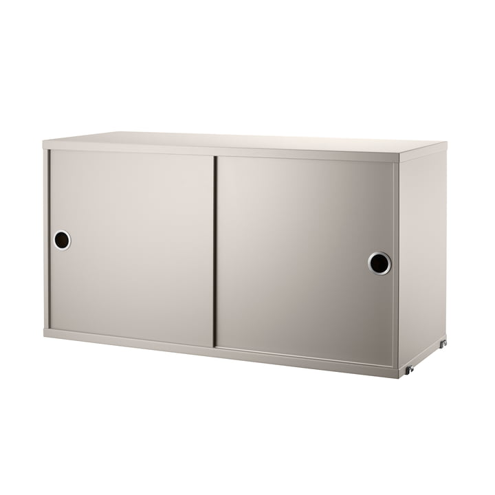 Cabinet module with sliding doors 78 x 20 cm from String in beige