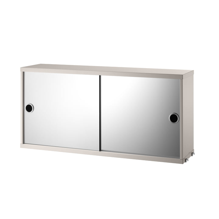 Cabinet module with sliding doors 78 x 20 cm from String in mirrored / beige