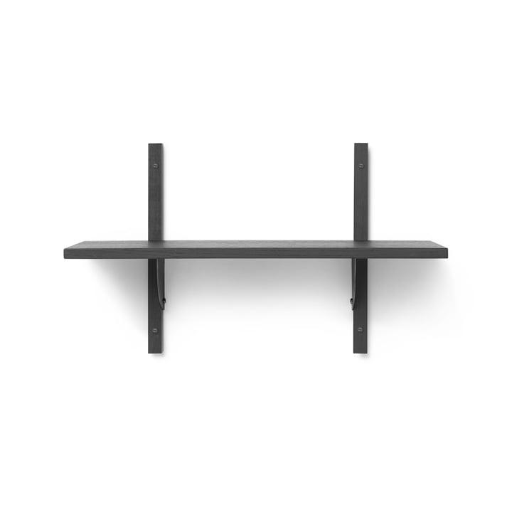 Sector wall shelf single, 54 cm, ash black / brass black from ferm Living