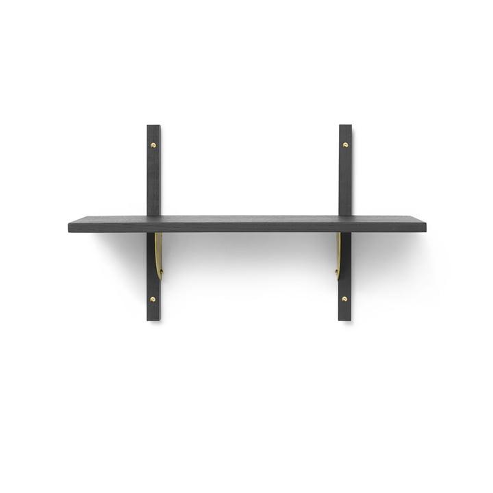 Sector wall shelf single, 54 cm, ash black / brass from ferm Living