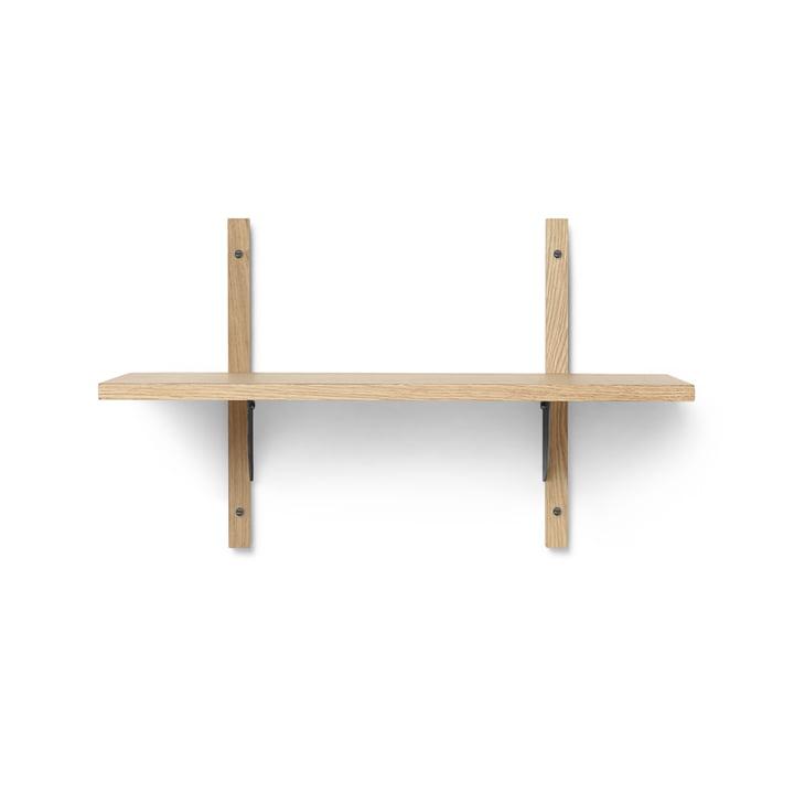 Sector wall shelf single, 54 cm, oak / brass black by ferm Living