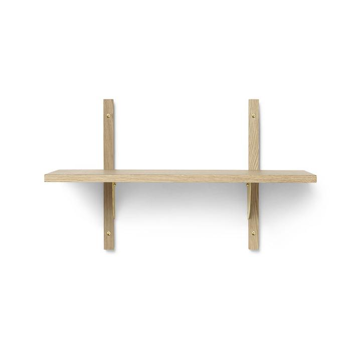 Sector wall shelf single, 54 cm, oak / brass from ferm Living
