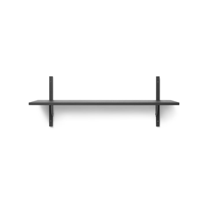 Sector wall shelf single, 87 cm, ash black / brass black by ferm Living