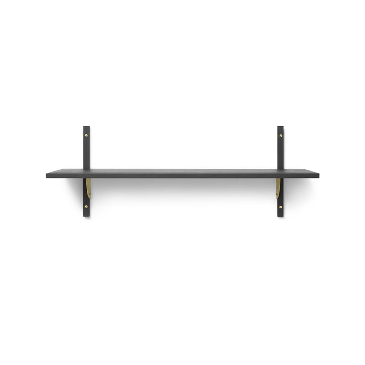 Sector wall shelf single, 87 cm, ash black / brass by ferm Living