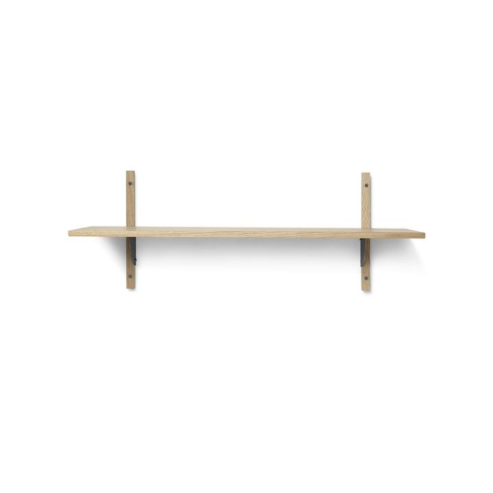 Sector wall shelf single, 87 cm, oak / brass black by ferm Living