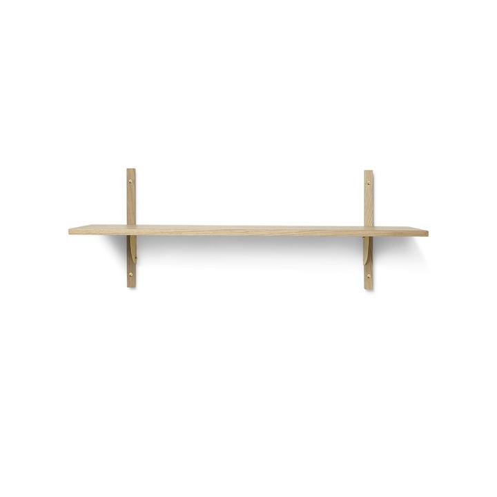 Sector wall shelf single, 87 cm, oak / brass from ferm Living