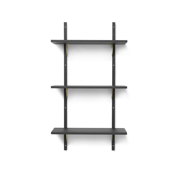 Sector wall shelf triple, 54 cm, ash black / brass by ferm Living