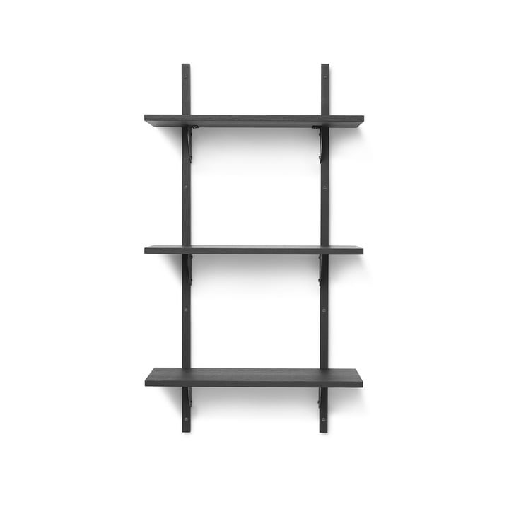 Sector wall shelf triple, 54 cm, ash black / brass black by ferm Living