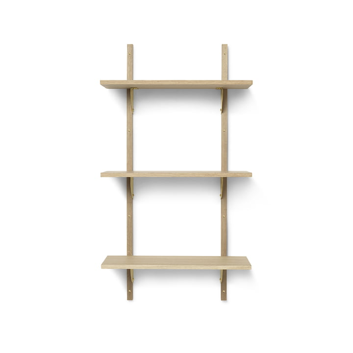 Sector wall shelf triple, 54 cm, oak / brass by ferm Living