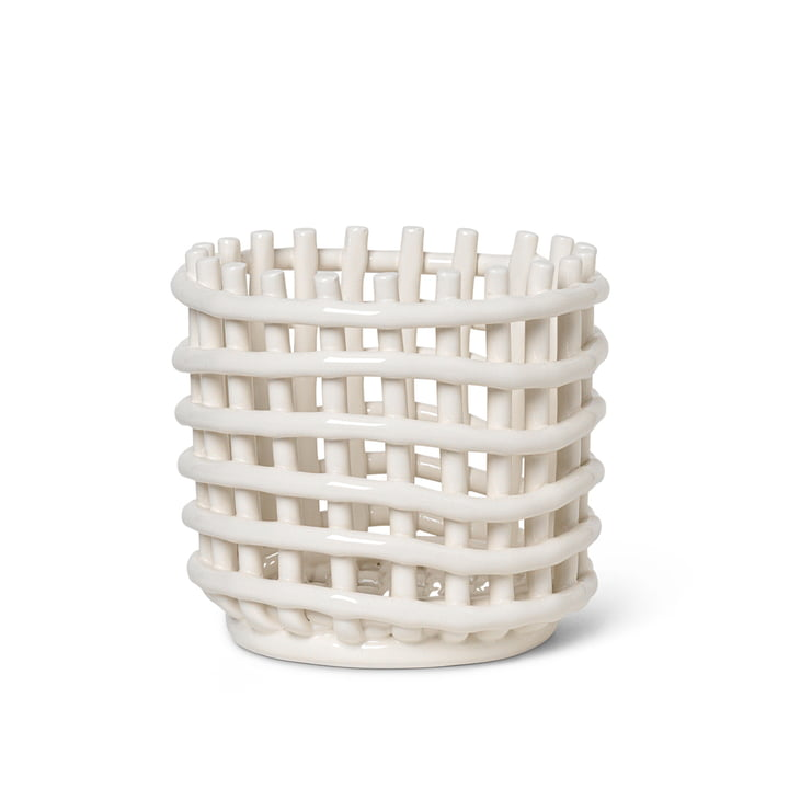 Ceramic basket small by ferm Living in off-white