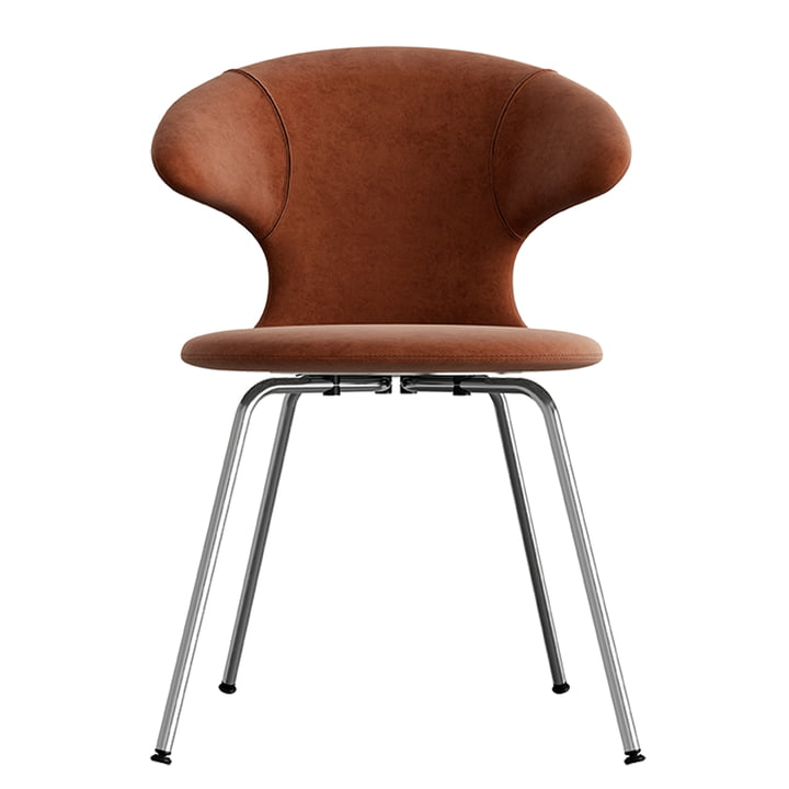Time Flies Chair, chrome base, rusty brown / rusty brown from Umage