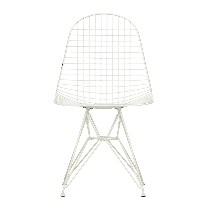 Wire Chair DKR (H 43 cm) from Vitra in white / without cover, felt glides (white)