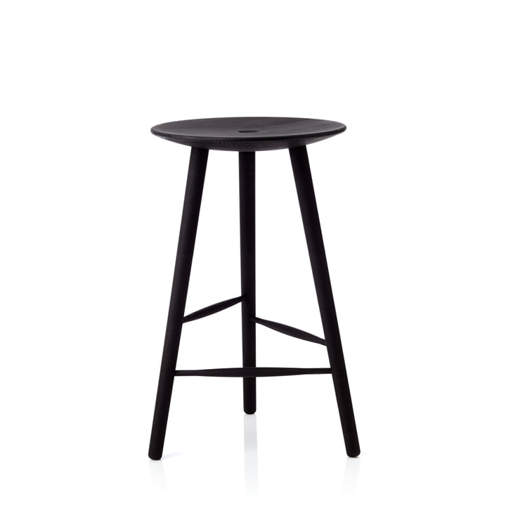 Di Volo bar stool H 65 cm from applicata in beech black stained