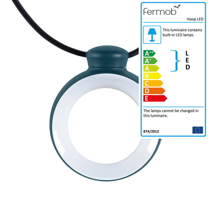 Hoop LED light garland from Fermob in acapulco blue
