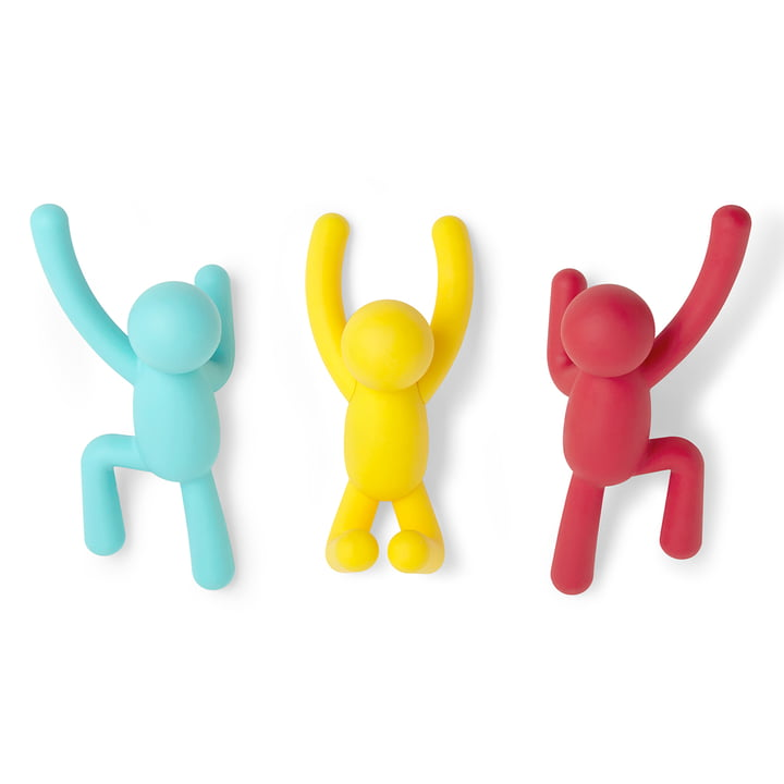 Buddy wall hook set of 3 from Umbra in blue / yellow / red