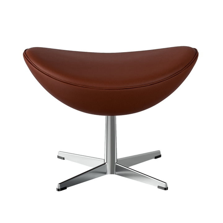 Egg Footstool Fritz Hansen in chrome / Spectrum leather rust-brown (special edition)