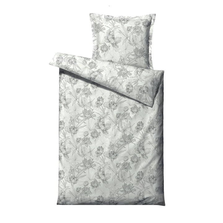 Foliage Bed linen, 135 x 200 cm, grey from Södahl