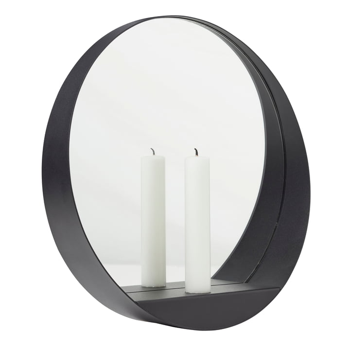 Glim Candle Wall mirror Ø 28 cm from Gejst in black