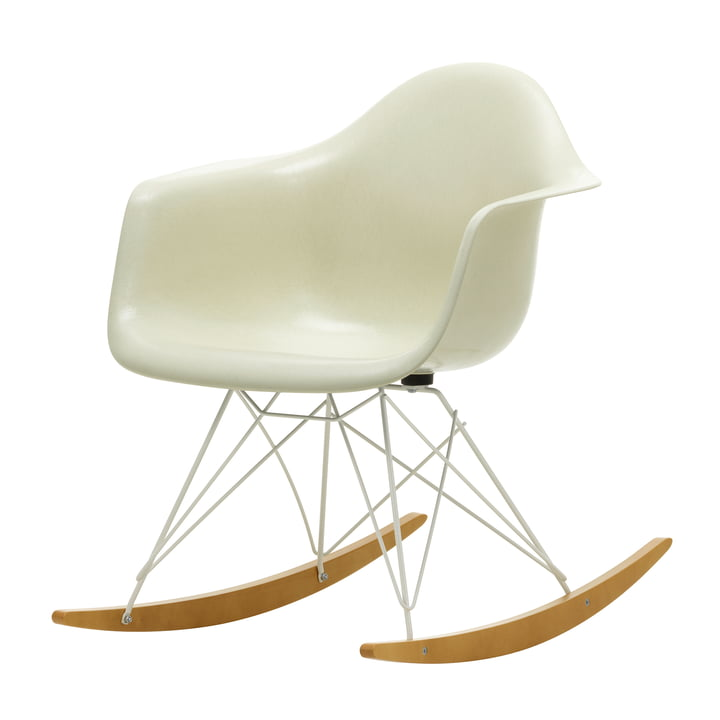 Eames Fiberglass Armchair RAR from Vitra in maple yellowish / white / Eames parchment