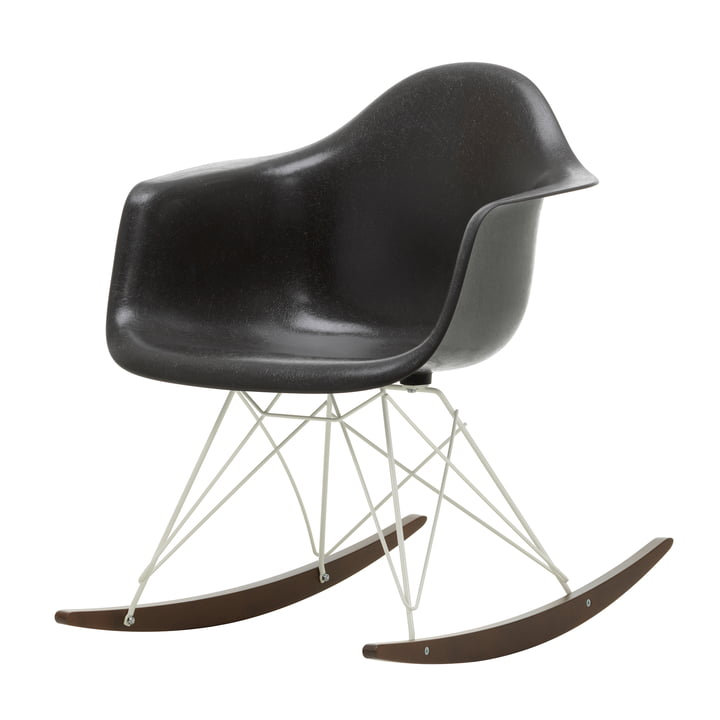 Eames Fiberglass Armchair RAR from Vitra in dark maple / white / Eames elephant hide grey