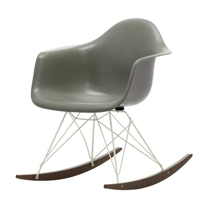 Eames Fiberglass Armchair RAR from Vitra in dark maple / white / Eames raw umber
