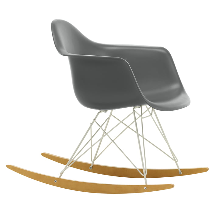 Eames Plastic Armchair RAR from Vitra in maple yellowish / white / granite grey