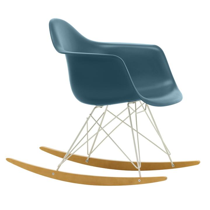 Eames Plastic Armchair RAR from Vitra in maple yellowish / white / sea blue